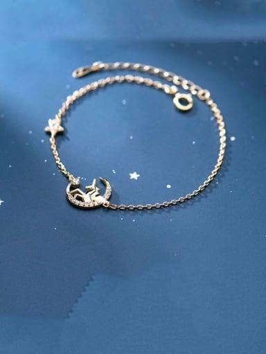 925 Sterling Silver Cute unicorn diamond star moon  Bracelet