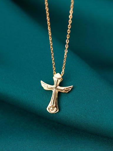 925 Sterling Silver Wing Cross Minimalist Regligious Necklace