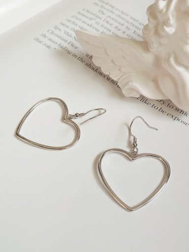 925 Sterling Silver Hollow Heart Minimalist Hook Earring