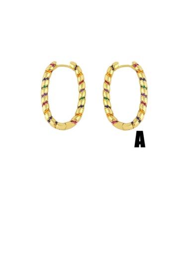 A Brass Cubic Zirconia Geometric Vintage Hoop Earring