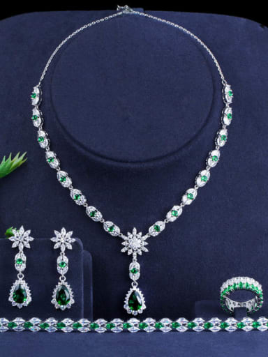 Green Size 6 four piece set Copper Cubic Zirconia Luxury Water Drop Earring and Necklace Set