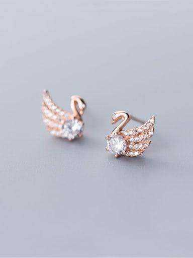 925 Sterling Silver Cubic Zirconia Swan Cute Stud Earring
