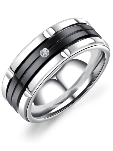 black Stainless Steel Band Ring