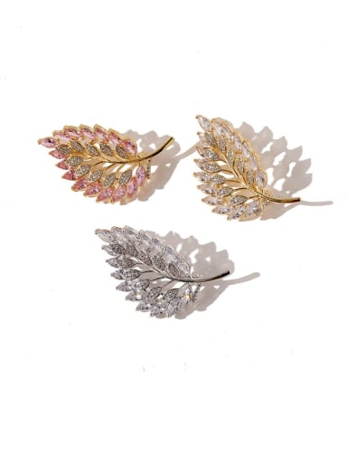 Copper Cubic Zirconia White Leaf Dainty Brooches
