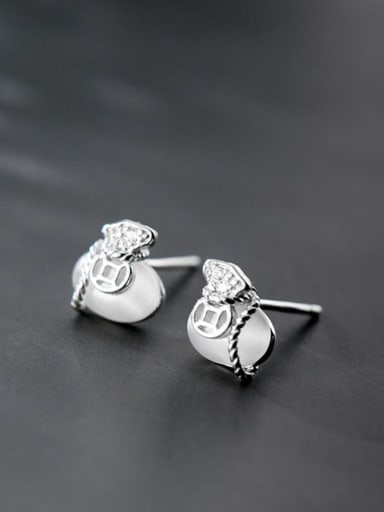 925 Sterling Silver Cats Eye White Irregular Classic Stud Earring