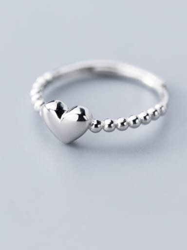 925 Sterling Silver Bead Smooth Heart Minimalist Band Ring