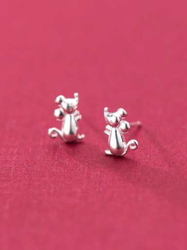 925 Sterling Silver With Platinum Plated Minimalist Mouse Stud Earrings