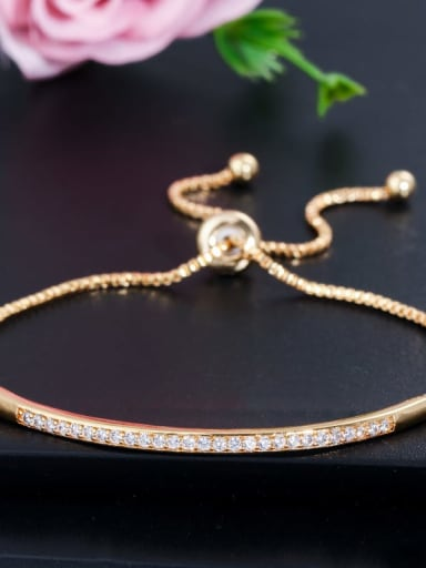 gold Copper Cubic Zirconia Geometric Dainty Adjustable Bracelet