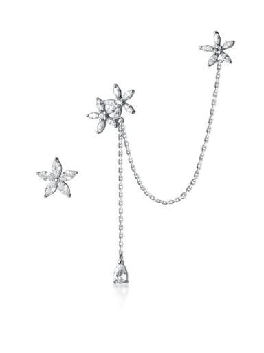925 Sterling Silver Rhinestone Flower Minimalist Clip Earring