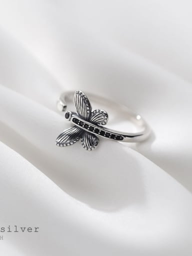925 Sterling Silver Butterfly Vintage Band Ring