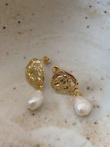 925 Sterling Silver Freshwater Pearl Oval Vintage Drop Earring
