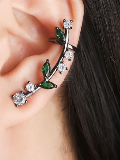 Black gold green zirconium Copper Cubic Zirconia Water Drop Dainty Ear Cuff Earring