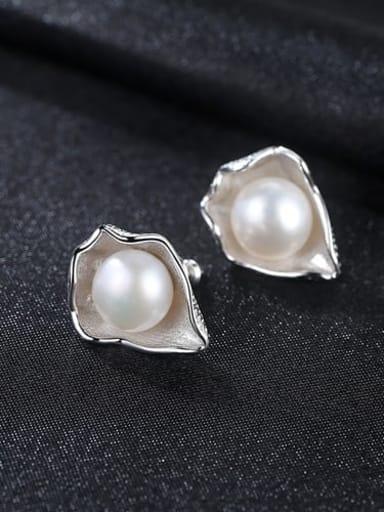White 3C07 925 Sterling Silver Freshwater Pearl White Irregular Vintage Stud Earring