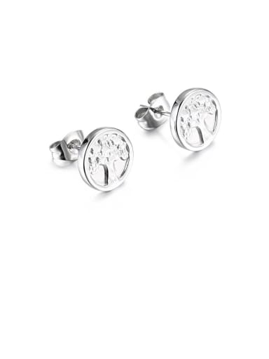 Stainless Steel Tree Minimalist Stud Earring