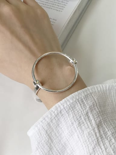 925 Sterling Silver Round Trend Band Bangle