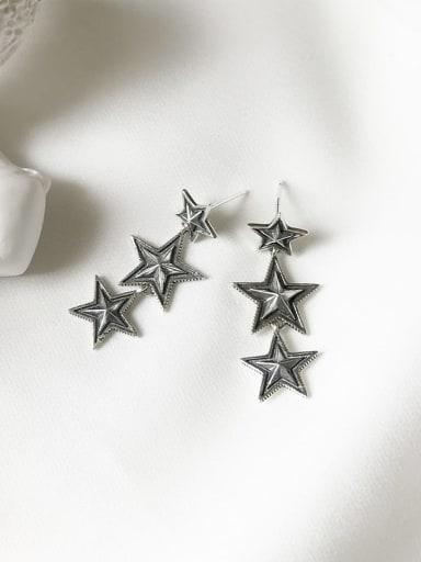 925 Sterling Silver Star Vintage Drop Earring