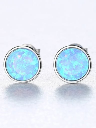 Blue 18H12 925 Sterling Silver Opal Multi Color Round Minimalist Stud Earring