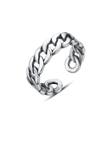 925 Sterling Silver irregular Vintage chain twist MIDI ring