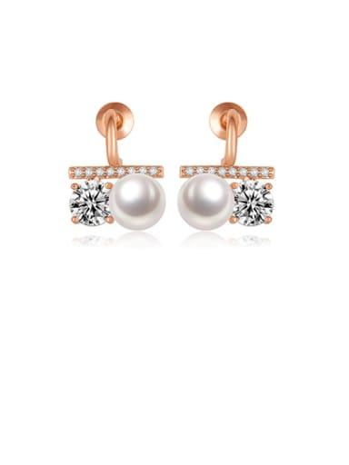 Copper Rhinestone White Geometric Minimalist Stud Earring