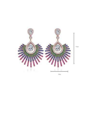 Rose gold t09g14 Copper Cubic Zirconia Multi Color Flower Luxury Drop Earring