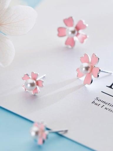 925 sterling silver imitation pearlenamel flower minimalist stud earring