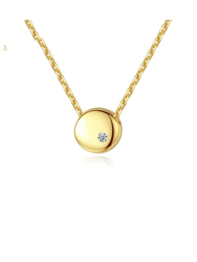 925 Sterling Silver Simple Smooth Round pendant  Necklace