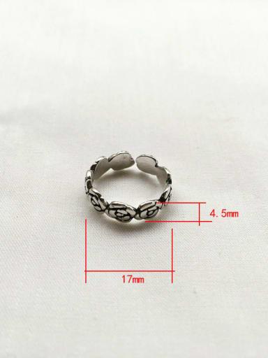J35 925 Sterling Silver Geometric flower Vintage Stackable Ring