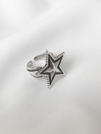 925 Sterling Silver  Vintage Pentagram Free Size Midi Ring
