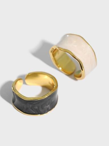 925 Sterling Silver Enamel Irregular Minimalist Band Ring