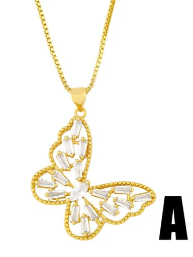 Copper Cubic Zirconia Butterfly Vintage pendant Necklace
