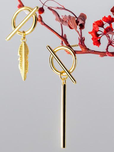 925 Sterling Silver Asymmetrical feather staff Minimalist Huggie Earring