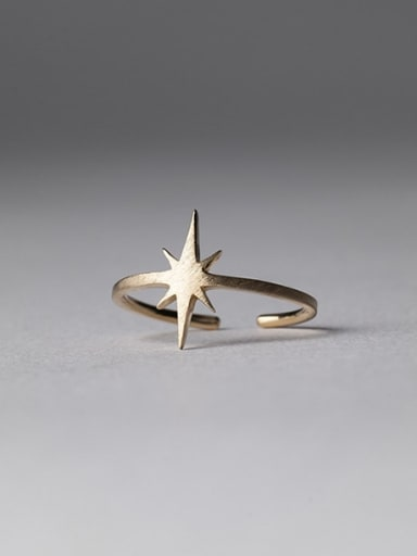 925 Sterling Silver   Minimalist  Smooth Star Free Size Ring