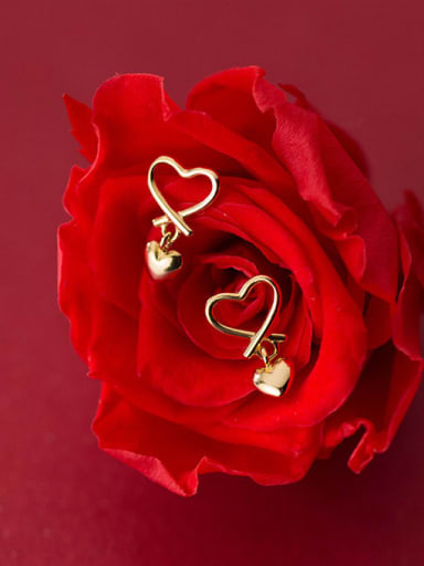925 Sterling Silver With Gold Plated Minimalist Hollow Heart Stud Earrings