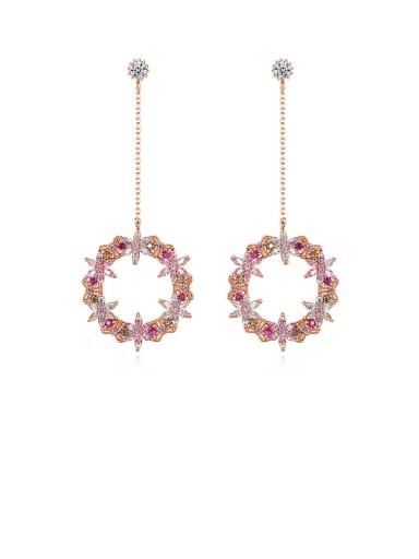 Copper Cubic Zirconia Multi Color Holllow Round Minimalist Drop Earring