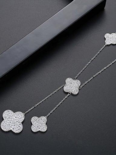 platinum Copper Cubic Zirconia Clover Minimalist Tassel Necklace