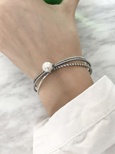 925 Sterling Silver Imitation Pearl White LetterX Vintage Cuff Bangle