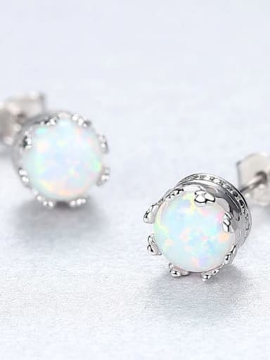White 18f01 925 Sterling Silver Opal Blue Round Minimalist Stud Earring