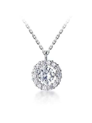 925 Sterling Silver Simple diamond Round pendant Necklace