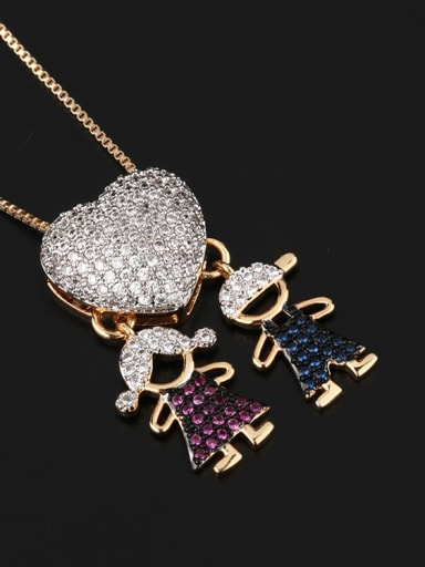 men and women Brass Cubic Zirconia Heart Cute boy and gril pendant Necklace