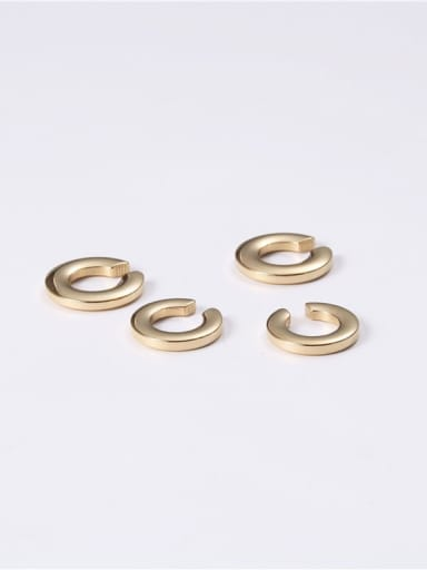 "Titanium With Imitation Gold Plated Simplistic Irregular ""C"" Clip On Earrings"