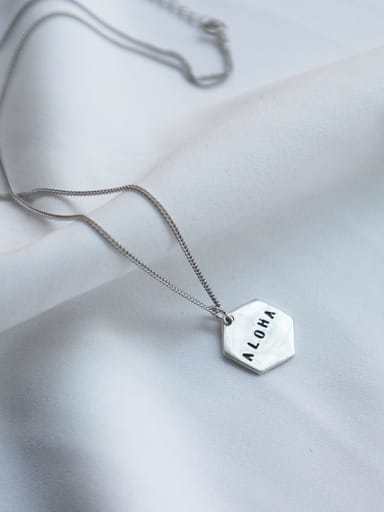 925 Sterling Silver hexagon Letter Minimalist Initials Necklace