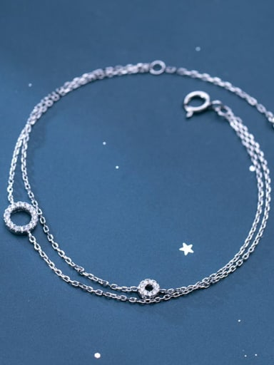 925 sterling silver  fashion hollow round minimalist strand bracelet