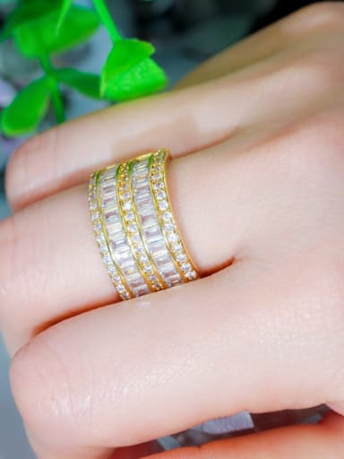 Gold US 6 Copper Cubic Zirconia Geometric Luxury Band Ring