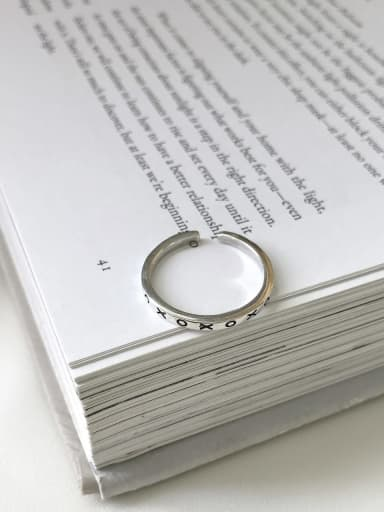 OXOXOJ 303 925 Sterling Silver Letter Vintage Signet Ring