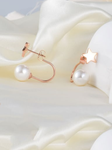 Titanium Imitation Pearl White Star Minimalist Drop Earring