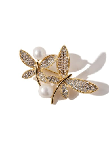 gold Copper Cubic Zirconia White Butterfly Luxury Brooches