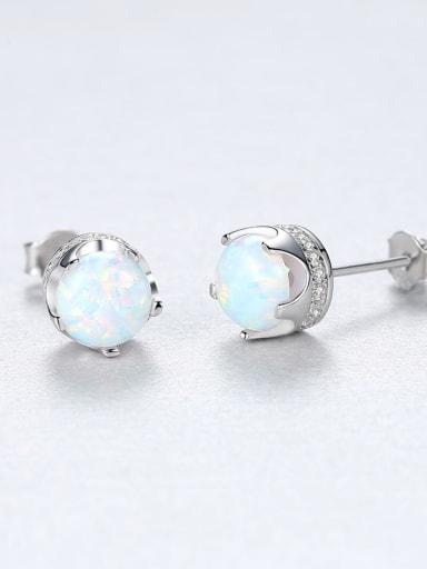 White 18F11 925 Sterling Silver Opal Geometric Trend Stud Earring