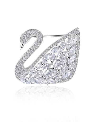 Copper Cubic Zirconia Swan Luxury Brooch