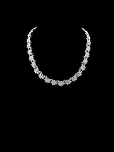 Copper Cubic Zirconia Square Luxury Necklace