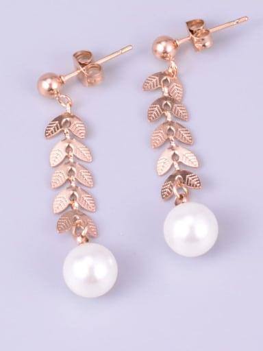Titanium Imitation Pearl Leaf Minimalist Drop Earring